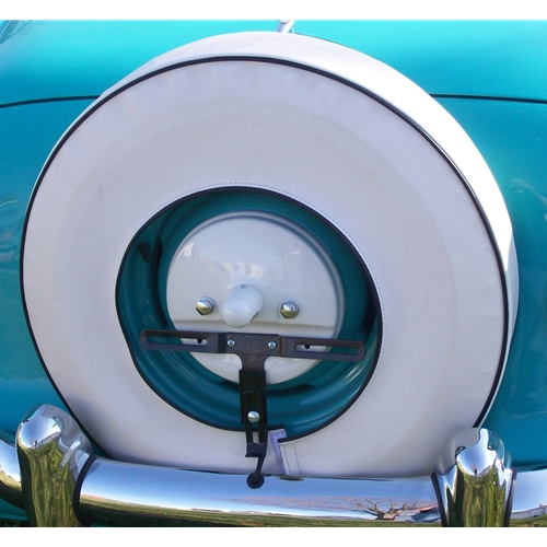 White With Black Piping Spare Tire Cover